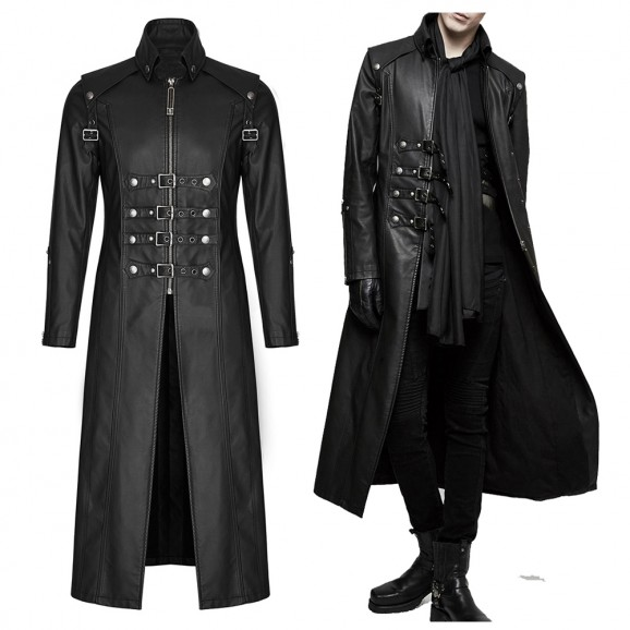 Men Long Black Gothic Imitation Leather Coat