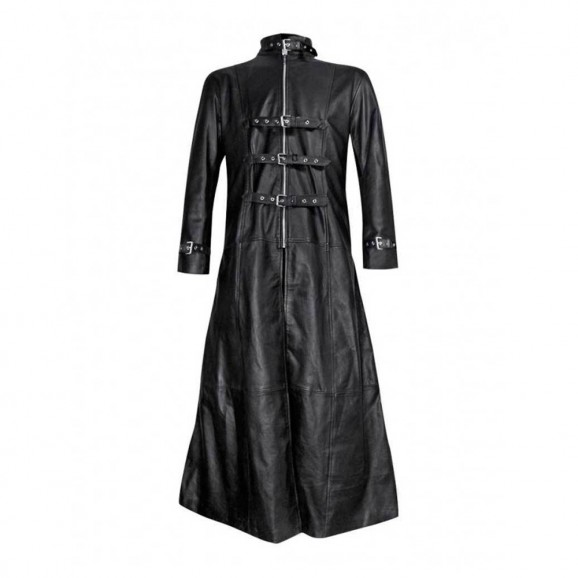 Mens Black Long Leather Gothic Trench Coat