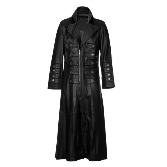 Men Military Long Steampunk Trench Genuine Leather Coat