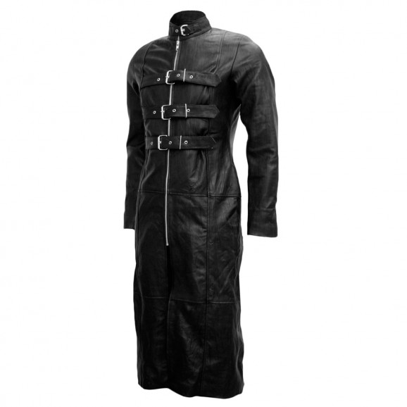 Mens Gothic Long Leather Coat Bondage Style Leather Coat