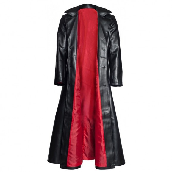 Mens Gothic Steampunk Coat Pvc Leather Vampire Long Jacket