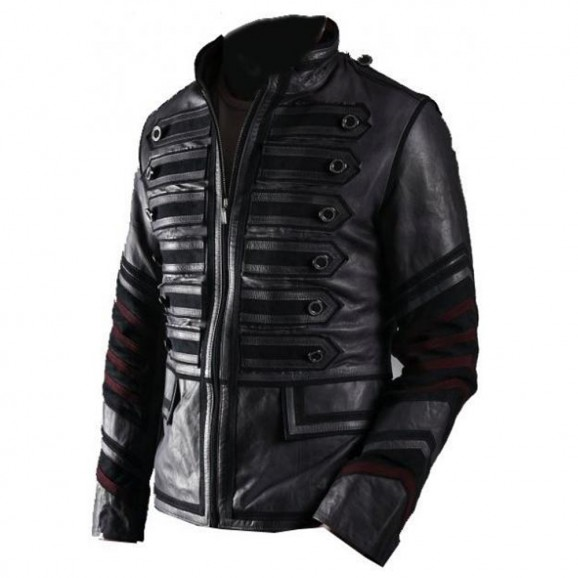 Mens Punk Rocker Military Leather Jacket