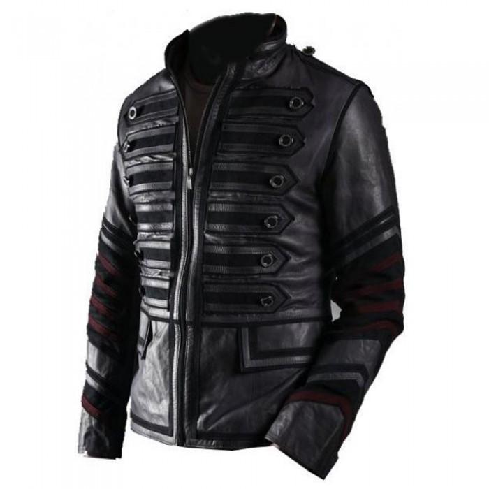 Mens Military Leather Jacket Black Front Zip Punk Rocker Coat