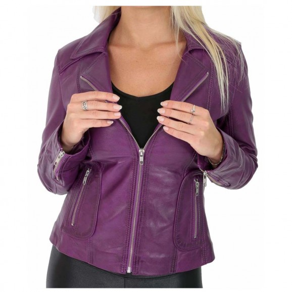 Gothic Back Laced Coat Purple Women Fitted Biker Leather Jacket