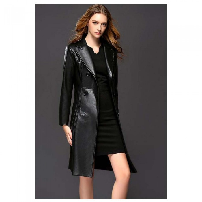 ce5cc07496ef4 Women Double Breasted Knee Length Black Leather Coat Women Goth Coats