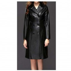 Women Double Breasted Knee Length Black Leather Gothic Coat