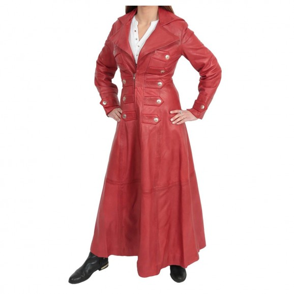 Women Military Style Full Length Trench Leather Coat