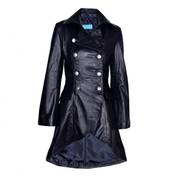 Women Gothic Victorian Leather Jacket Black Real Laced Back Coat