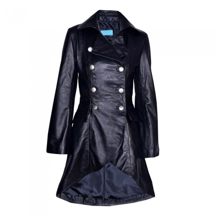 Women Gothic Victorian Leather Coat Black Real Laced Coat