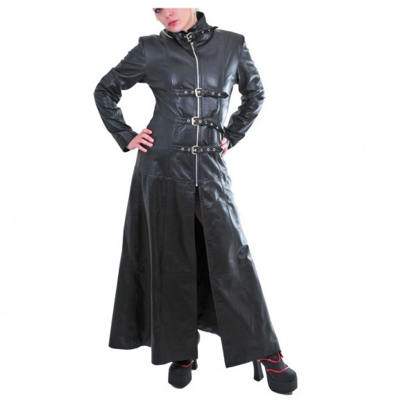 Women Pure Leather Gothic Coat Black Steampunk Long Tailor Coat