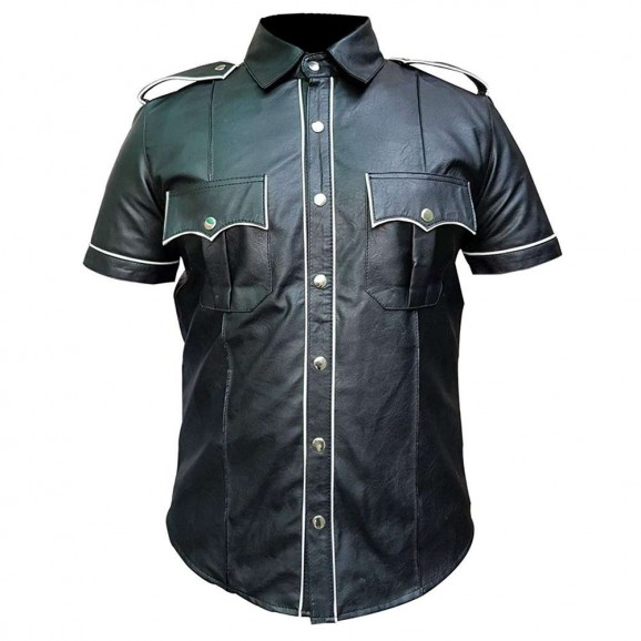 Men Gothic Punk Police Leather Shirt