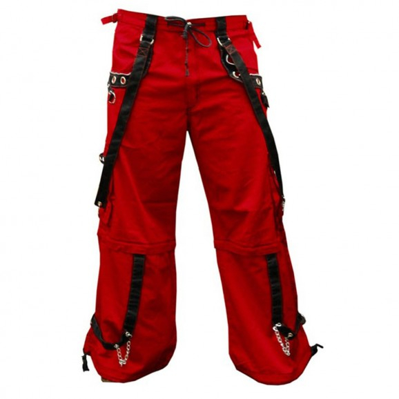 Men Gothic Cyber Shorts Trouser Red