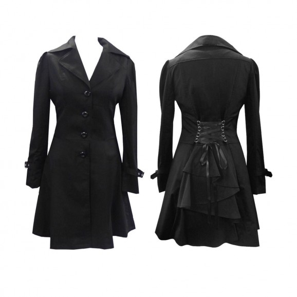 Women Victorian Corset Riding Jacket Black Gothic Steampunk Coat