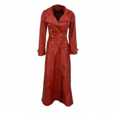 Women Military Long Leather Coat Trench Gothic Coats