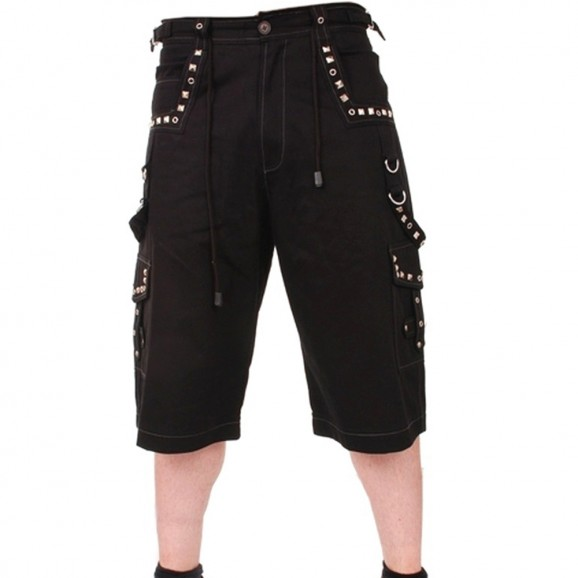 Men Gothic Metal Shorts With Pyramids