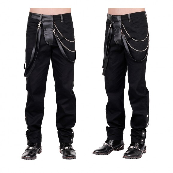 Steampunk Vintage Trouser Men Goth Black Gens Steam Pant