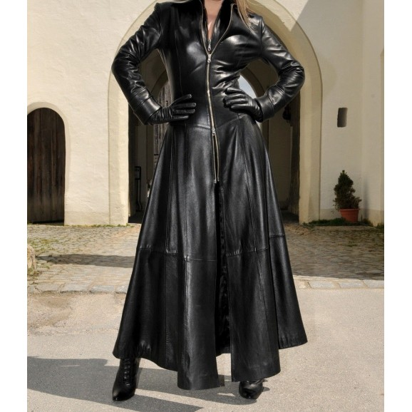 Women Gothic Full Length Coat Sexy Victorian Leather Trench Coat