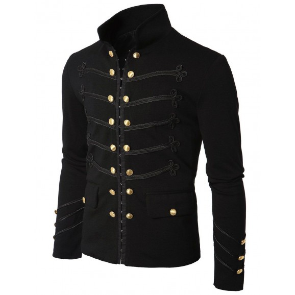 Gothic Black Military Napoleon Hook Jacket Black Lace Trim Jacket Wool Cotton