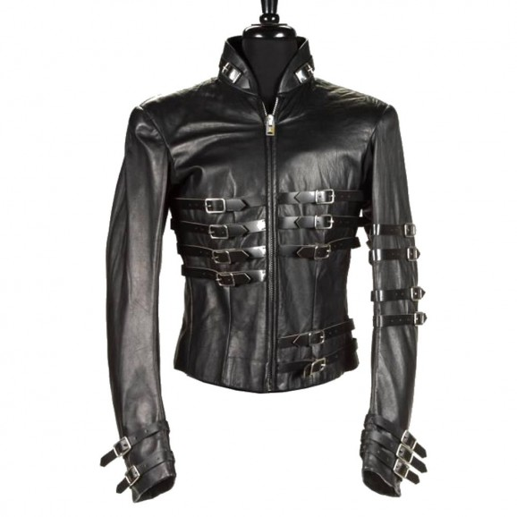 Men Gothic Leather Jacket Hot MJ Punk Military Black Leather JACKET
