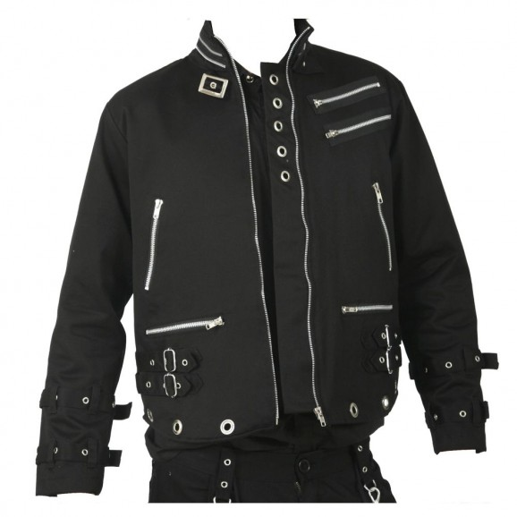 Punk Men Bondage Jacket Black Canvas EYELET JACKET Dead Threads Men Gothic Zips Jacket