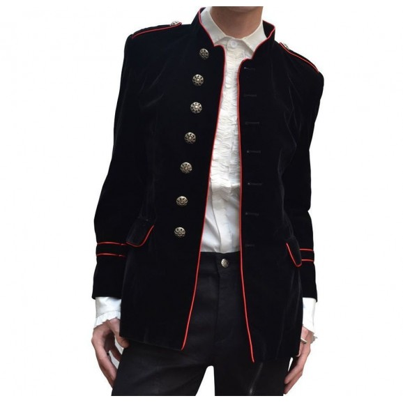 Men Black Velvet Military Jacket Gothic Steampunk VTG Solid Handmade Men Goth Cotton Jacket