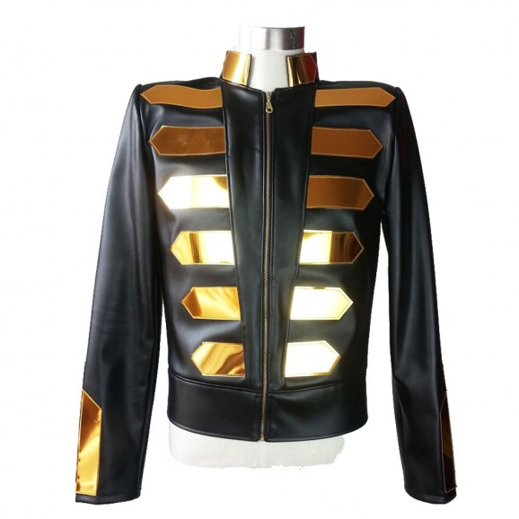 Black Gold Fashion Leather Jacket Gothic Unisex Nightclub Leather Jacket