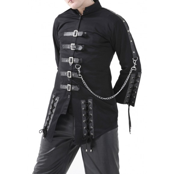 Men Dead Threads Jacket Gothic Black Corseting Chain EMO Cyber Jacket