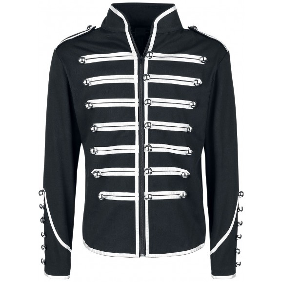 Men Military Parade Marching Jacket Gothic Army Band Drummer Jacket