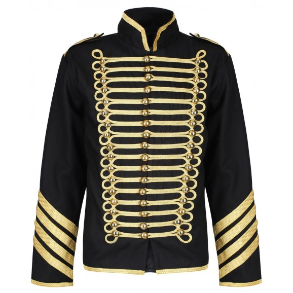 Men Military Jacket Drummer Silver Gold Gothic Army Parade Jacket