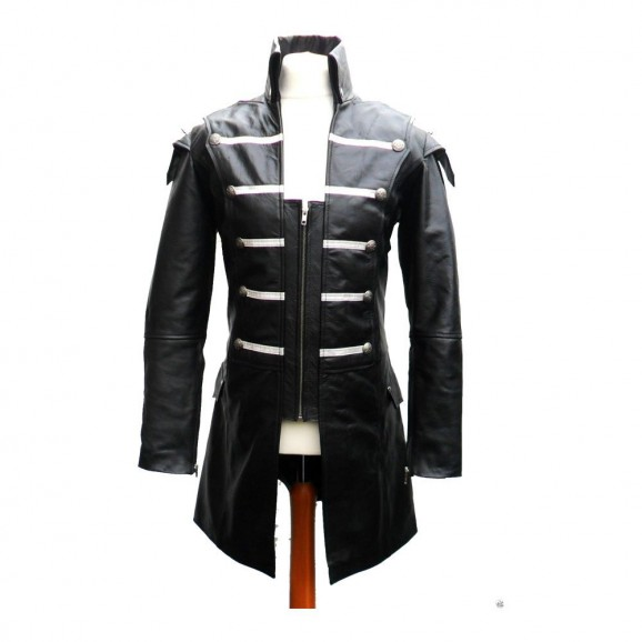 Goth Steampunk Lambskin Jacket Gothic Leather Coat