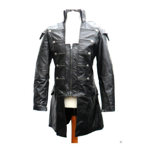 Men Lambskin Gothic Leather Coat Mens Rock Style Goth Steampunk Real Leather Jacket
