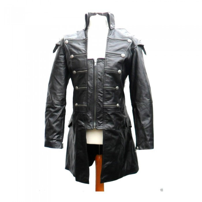 5920d1889d7ab Men Lambskin Gothic Leather Coat Mens Rock Style Goth Steampunk Real Leather  Jacket