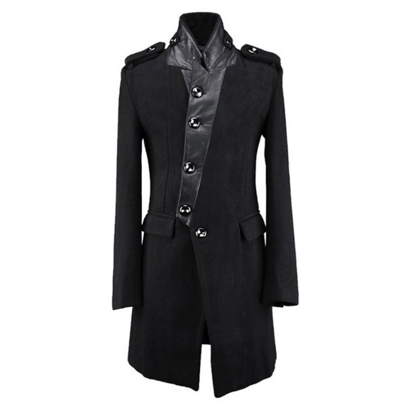 Gothic Slim Medium Long Trench Coat Personalized Stand Collar