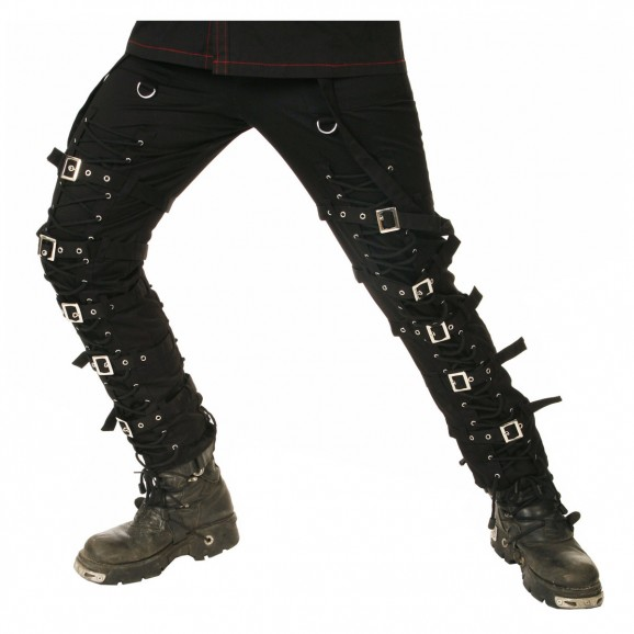 Goth Punk Cyber Black Buckle Zips Straps Trousers Pants