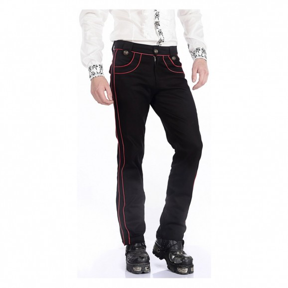 Gothic Mens Military Officer Trousers Black Red Pentagramme Pants