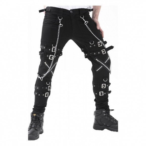 Men Gothic Pant Cross Zip Chain Straps Cyber Punk Bondage Trousers Pants