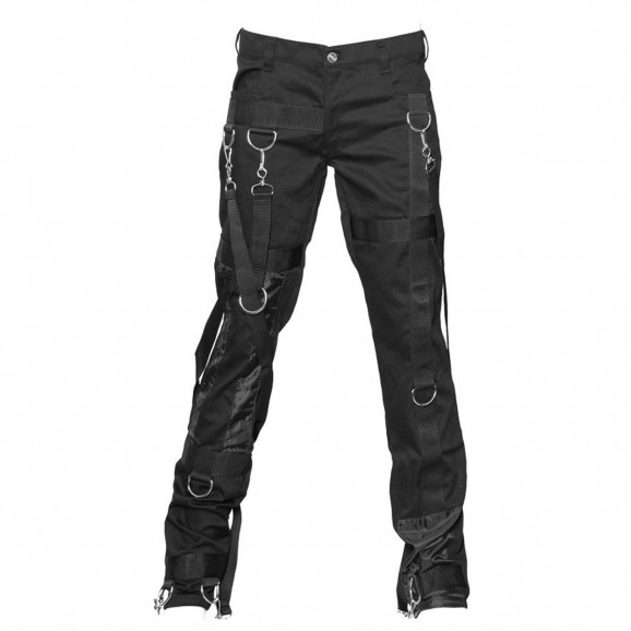 Men Gothic Denim Pant Rock Star Bondage Silk Pant