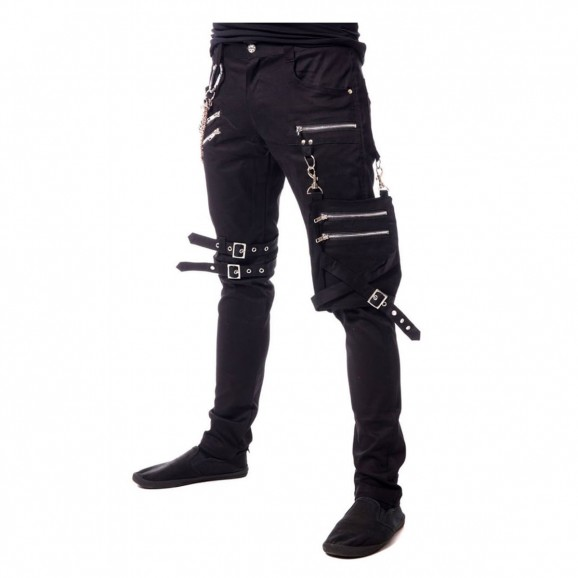 Gothic Men Slim Fit Bondage Buckle Straps Chain Pants