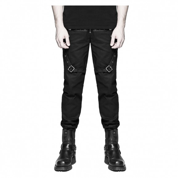 Men Steampunk Leather Straps Military Style Pant |Men Gothic Pants