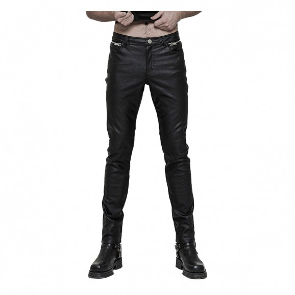 Gothic Steampunk Black Trouser Pu Leather Men Pants