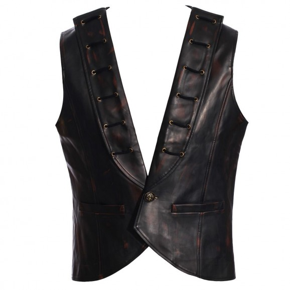 Men Black Copper Leather Vest Gothic Steampunk Vest Jacket