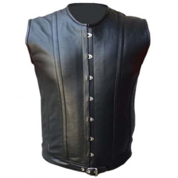 Mens Sheep Skin Real Leather Vest Steel Boned Victorian Style Vest