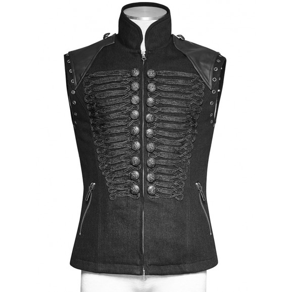 Men Steampunk Military Vest Black Sleeveless Gothic Army Officer Jacket Vest