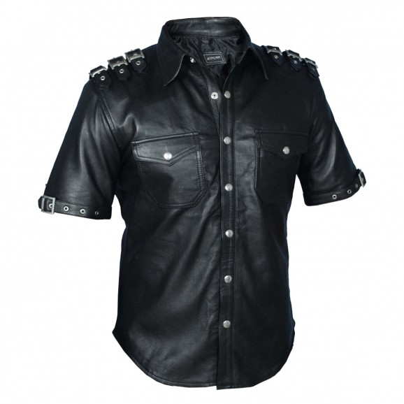 Mens Punk Gothic Rock Real Leather Shirt Fetish Club Shirt