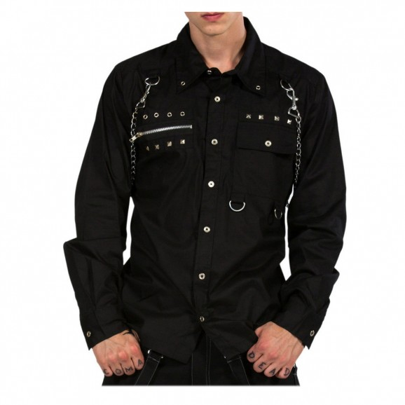 Gothic Shirt Punk Metal Studs Chain Cotton Men Shirt