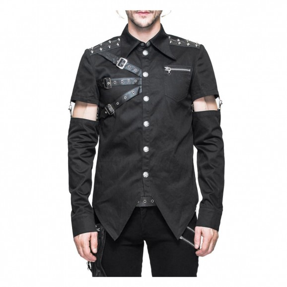 Gothic Devil Fashion Shirt Men Punk Vanian Shirt With Detachable Sleeve