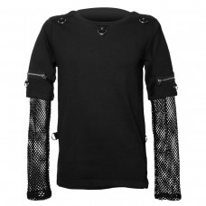 Gothic Top With Mesh Sleeves Punk Men Goth Shirt Top