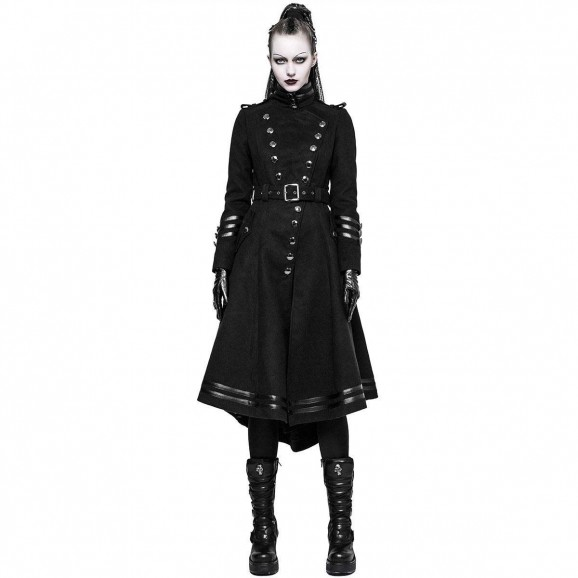 Women Gothic Steampunk Military Long Coat Women Goth Coats