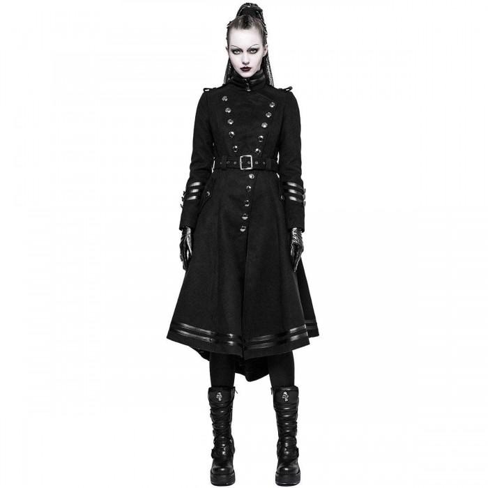 Women Gothic Steampunk Military Long Coat Women Goth Coats