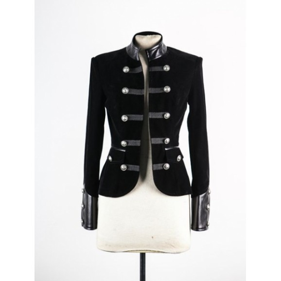 Women Gothic Black Velvet Coat Leather Accents Double-breasted